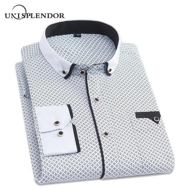 69d9a31b312372 2018 Fashion Men Casual Slim Fit Printed Shirt Long Sleeved Male Social  Business Dress Shirt Brand Men Clothing Soft Top YN10323