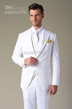 White Men's Bridal suits Groom Tuxedos Formal Occasion Suits Party Dinner Suits man tuxedo slim fit pants jacket