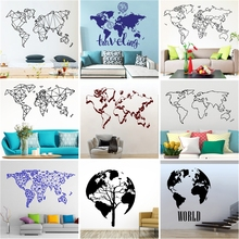 Nordic Art vinyl World Map Wall Sticker Bed room Decoration Decal For house Living Room Decor mural wallpaper Wallstickers