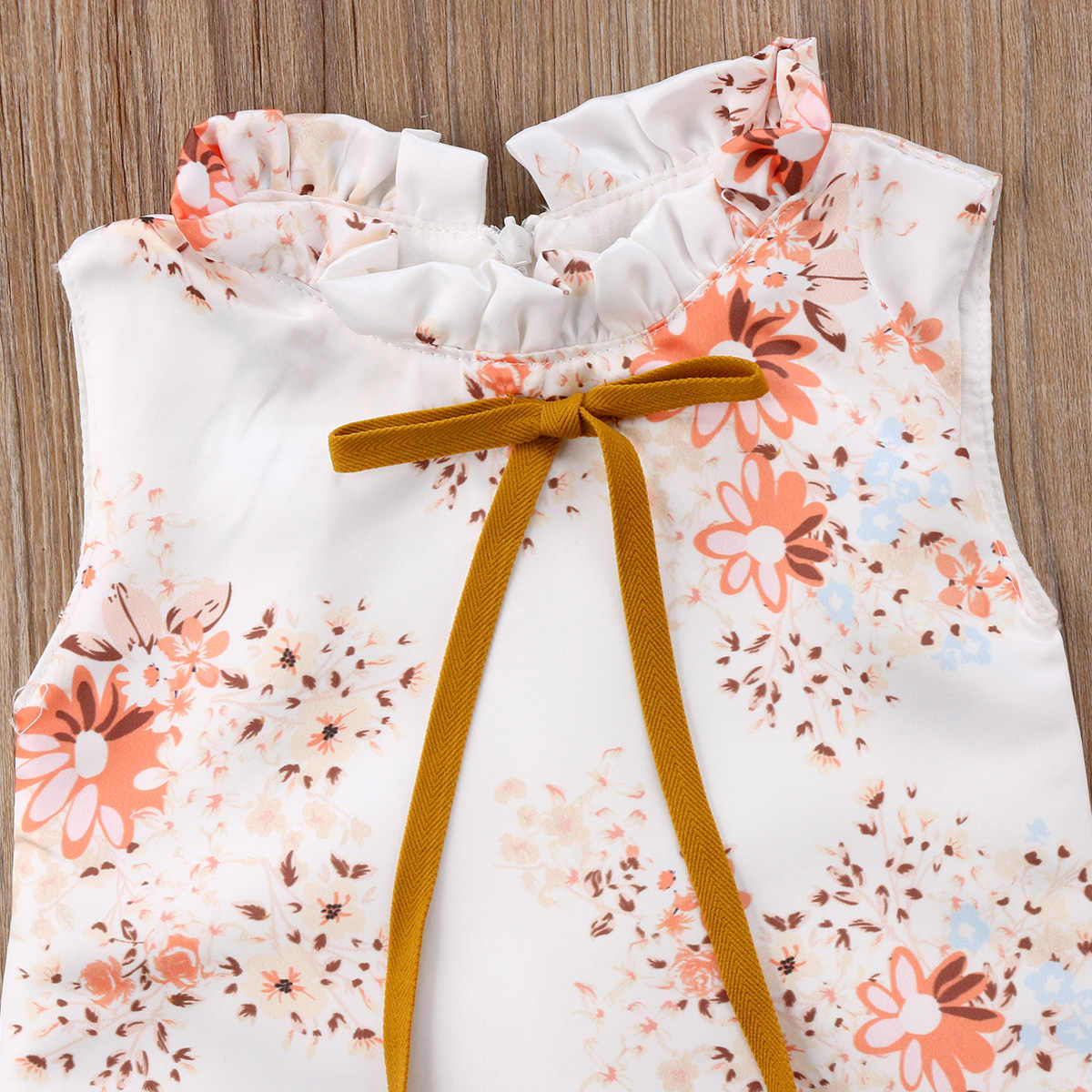 1dc294e94ccf9 2018 Simple style Toddler Kids Baby Girls Princess Sleeveless Yellow Floral  Dress Party Clothes Summer 0-6T