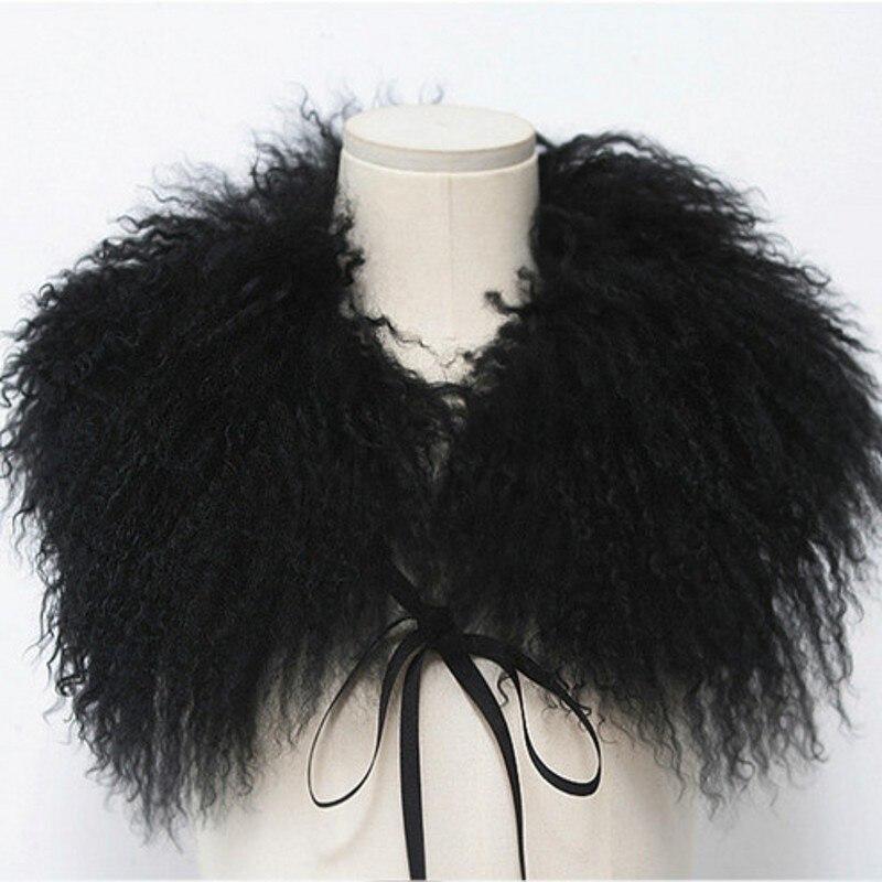 Իսկական մորթյա աղվեսի շարֆ նորաձևության օձիք բուրդ շարֆ լողափ ավազ ոչխար մոմաո մաքսիլյար կին