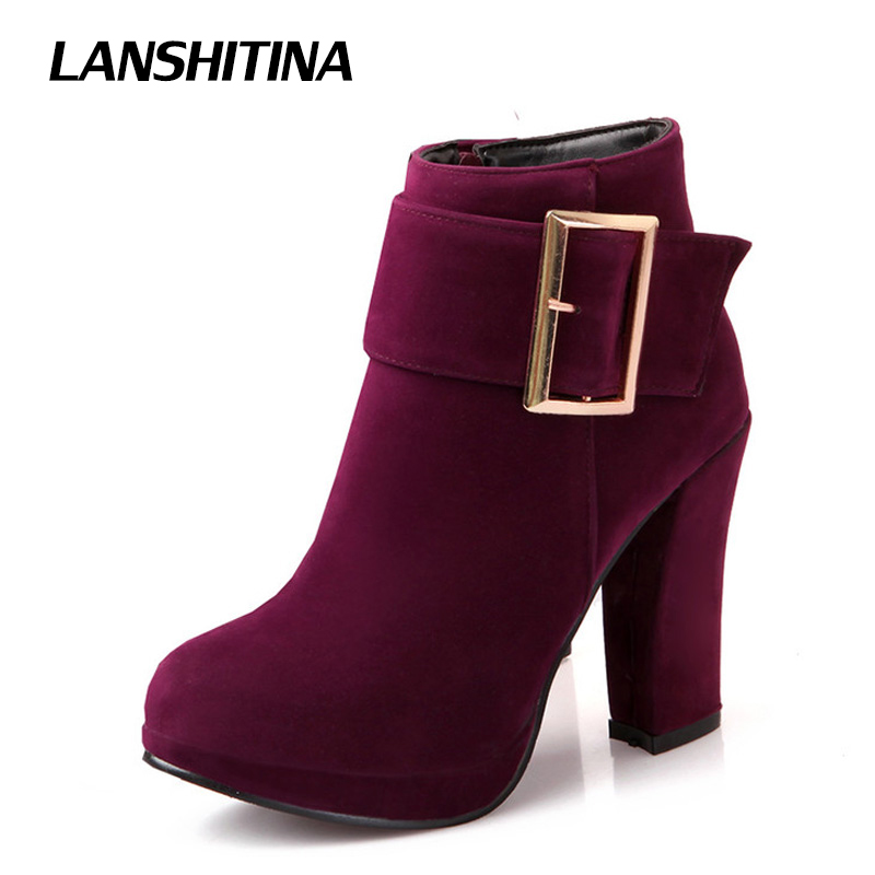 Size 32-43 Autumn Winter Women Ankle Boots High Heel Buckle Boot Platform Round Toe Sexy Boots Thick Heels Flock Shoes G254 kemekiss winter women round toe ankle boots high heels lace up shoes double buckle platform short martin booties size 33 43