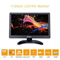 EYOYO H1116 12 LCD Security Monitor HD 1366x768 IPS 170degree HDMl BNC Cable Audio Video Display DVD CCTV DVR For Home/Office