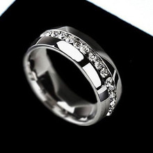 Men's Women's Couple Lover Rhinestone Titanium Steel Engagement Ring Size 6-11  64XO