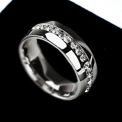 Mens Womens Couple Lover Rhinestone Titanium Steel Engagement Ring Size 6-11 64XO