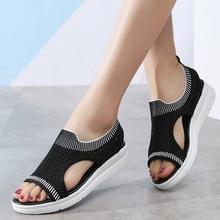 WDZKN Summer Casual Shoes Women Sandals 2019 Lightweight Ladies Sandals Slip On Open Toe Women Flat Sandals big size 35-45 H8100