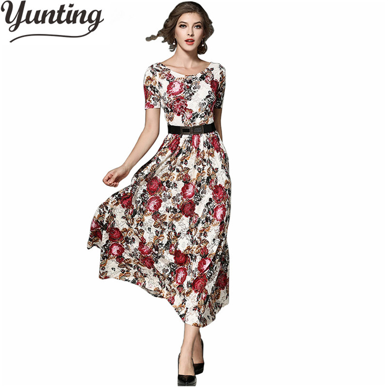 Womens Maxi Long New Elegant Floral Flower Lace Short Sleeve O-Neck Casual Party Vintage Maxi Long Dress