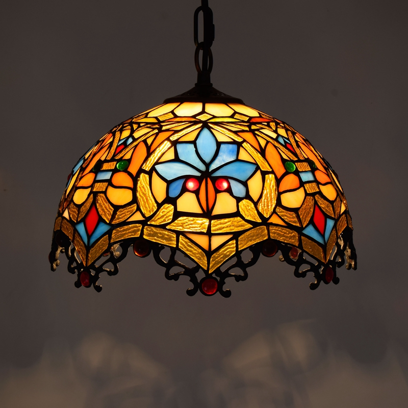 European style creative stained glass Baroque restaurant bedroom Balcony corridor pendant lamp Rose Grape Dragonfly Bar lamp e27 fumat stained glass pendant lamps european style baroque lights for living room bedroom creative art shade led pendant lamp