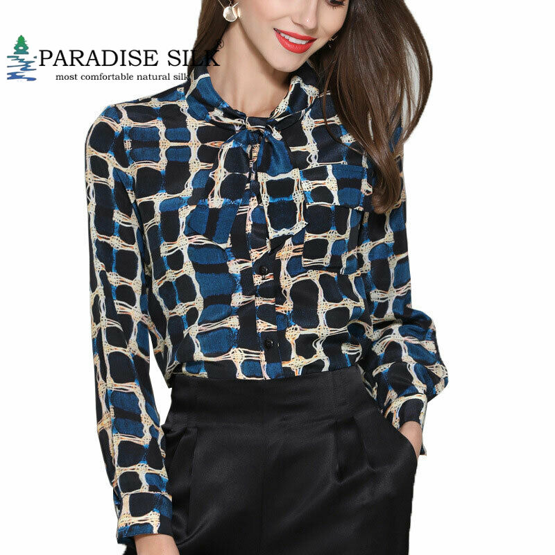 Women Blouse Natural Silk Stretch Satin Floral Print Long Sleeve Lady Shirts With Size L XL