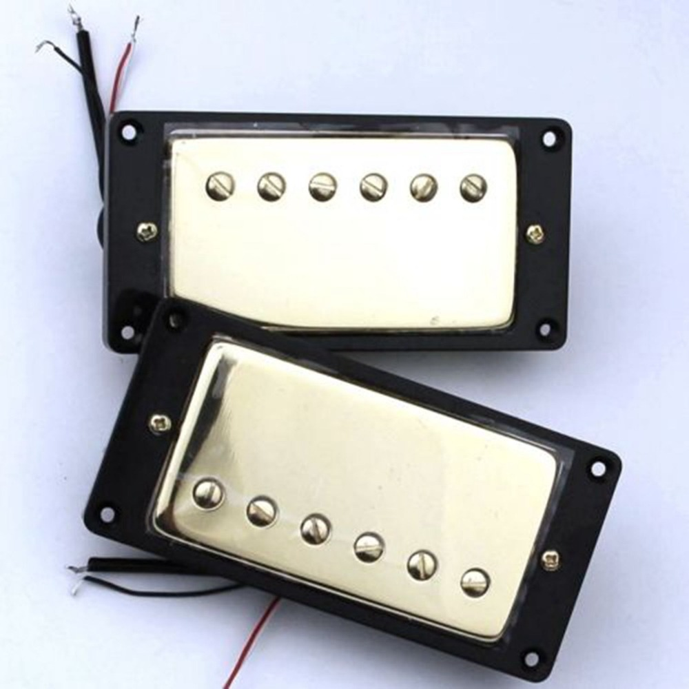 humbucker pickup set gold four conductor wires alnico v pickups fits lespaul new in guitar parts. Black Bedroom Furniture Sets. Home Design Ideas