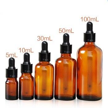 50 Uds Vidrio ámbar vacío esencia aceite frasco cuentagotas Vidrio ojo cuentagotas...