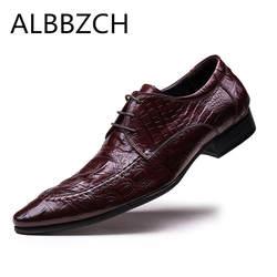 Новый с узором «крокодиловая кожа» натуральная кожа мужская обувь мужской деловой костюм торжественное платье Мужская обувь высокого