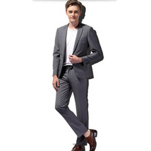 Gray wool men suits tailor made one button  men's wedding suits tuxedos fashion handsome groom best man suits(jacket+pants)