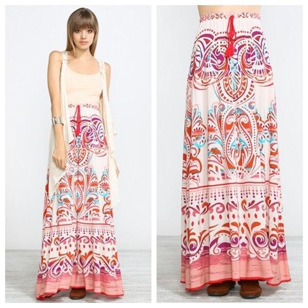 a5df8b217 Nuevo diseño boshow azteca faldas largas SAIA longa robe longue wihte Rosa  imprimir falda Palazzo Boho