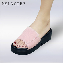 Plus Size 34-44 Summer Woman Casual Shoes Platform Wedge Beach Flip Flops Slippers Women Peep Toe Sandals Platform Comfortable big bowtie woman beach flip flops summer sandals slip resistant slippers platform sandals size 34 40