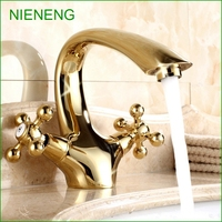 NIENENG Bathroom Faucets Water Sink Faucet Golden Tap Sink Basin Taps Gold Color WC Hotel Accessory Sanitary Wares ICD60136