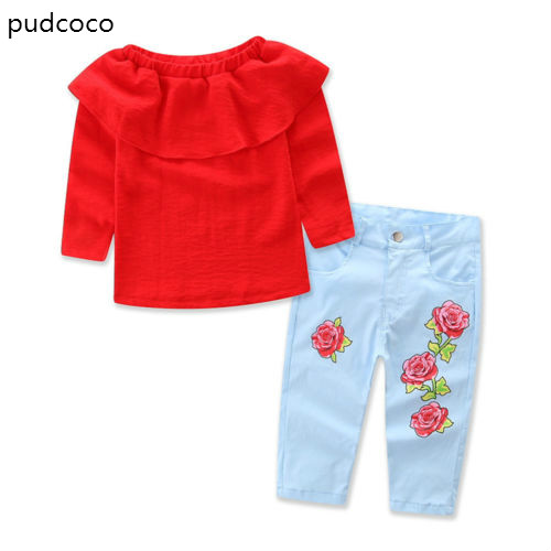 Summer Autumn Kids Baby Girl Red Ruffles Blouse T-Shirt Tops+Denim Rose Jeans Long Pants Clothes 2pcs Outfit Set 1-7Y цена