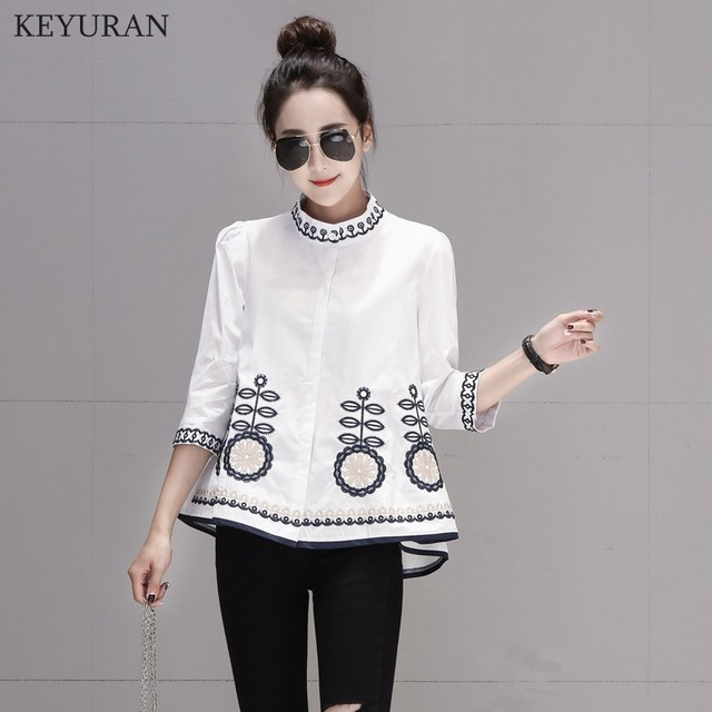 New Arrival 2020 Spring Autumn Ethnic Embroidery Women Shirts Stand Collar Three Quarter Sleeve Casual Loose Blouse Tops L3024 1