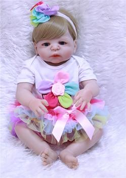 23inch Full silicone reborn baby dolls Toy Baby-Reborn lifelike toddler toys vinyl newborn bathe princess toddler Brinquedos toy