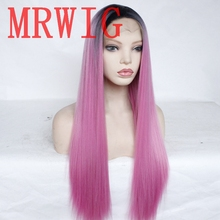 MRWIG 8in &3in short dark roots ombre pink middle part synthetic front lace wig combs&straps woman