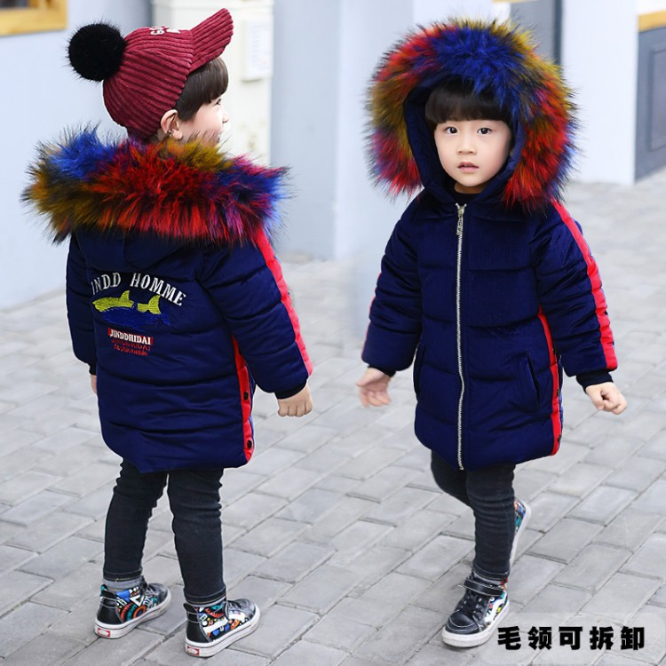 WENDYWU 2018 new arrival  winter coat fur collar Boy Color velvet cotton padded jacket wear thick warm childrenWENDYWU 2018 new arrival  winter coat fur collar Boy Color velvet cotton padded jacket wear thick warm children