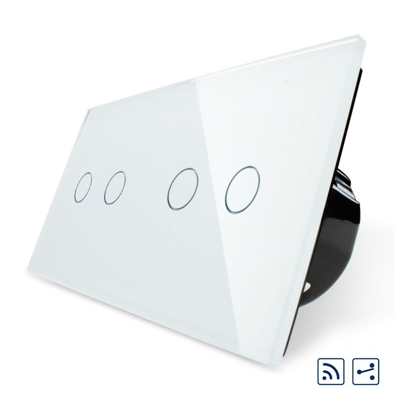 Livolo Smart Touch Switch 4 Gang 2Way Remote Touch Control, Crystal Glass Panel, Wall Light Switch, VL-C702SR-12/VL-C702SR-12 livolo us standard base of wall light touch screen remote switch ac 110 250v 3gang 2way without glass panel vl c503sr