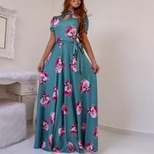 5XL Summer Autumn Boho Floral Short Sleeve Long Dress Elegant Women Flower Printing Maxi Dress Wrap Belt Big Hem Plus Size Dress