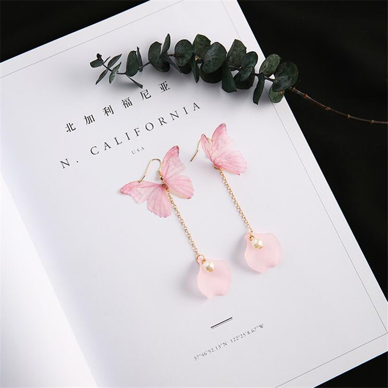 Bohemian Style Organza Ethereal Butterfly Earring Summer Style Gold Color Long Chain Imitation Pearl Drop Earrings For Women