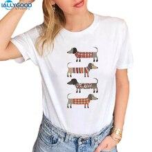Summer Funny Dachshund T-Shirt Women Too Long Wiener Dog Printed O-neck T shirts Soft Short Sleeve Women White Tops S1540