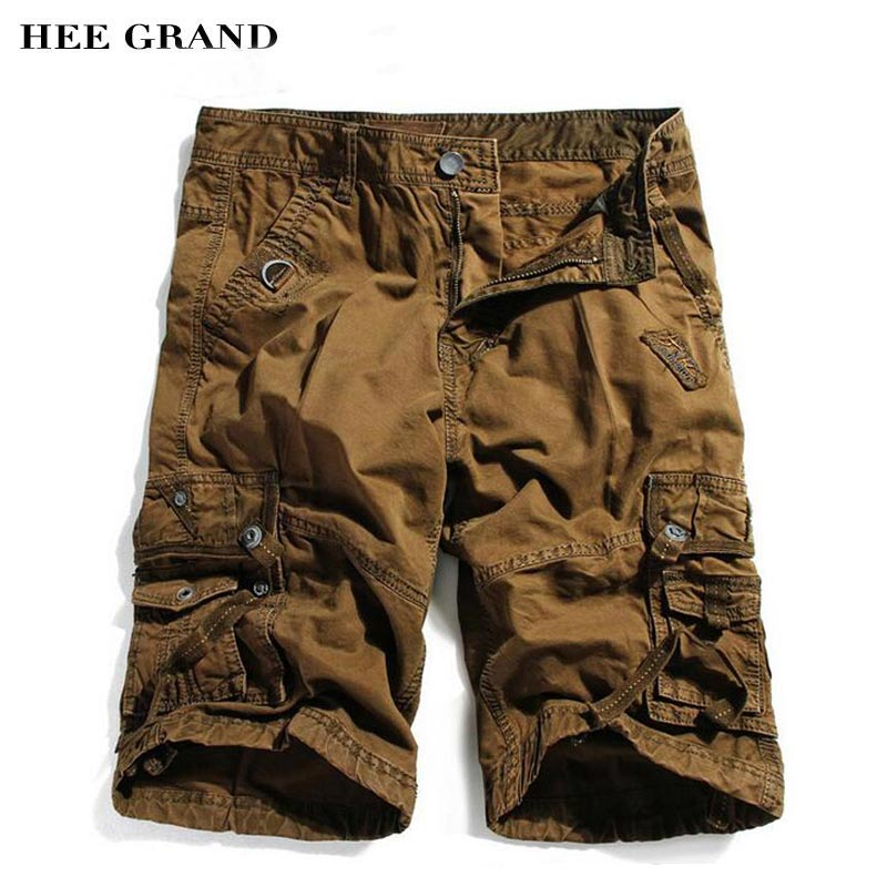 HEE GRAND Men Knee Length Cargo Shorts 2018 New Fashion Whole Cotton Material Loose Style Summer Shorts Plus Size 29-40 MKD1272