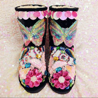 Glittering Cute Women Boots Colorful Rhinestone Mid Calf Winter Boots Sequined Butterfly Flowers Party Shoes Fur