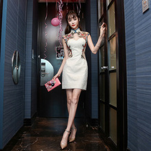 modern cheongsam chinese qipao dresses 2017sexy Perspective Embroidery Short sle