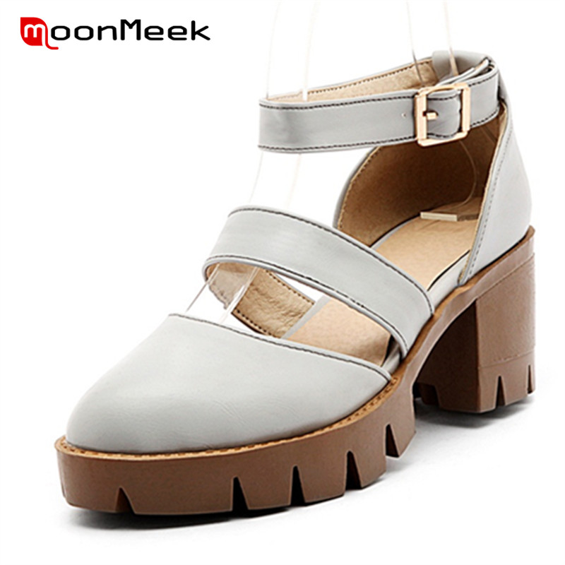 MoonMeek Hot sale summer shoes buckle platform high heels shoes big size 34-43 women sandals party shoes fashion anmairon shallow leisure striped sandals women flats shoes new big size34 43 pu free shipping fashion hot sale platform sandals