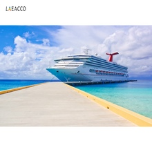 Laeacco Ship Boat Port Blue Sky Cloudy Seaside Baby Summer Scenic Photo Background Photography Backdrop Photocall Studio