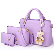 Composite Bag Fashion Korean Style Chic Embossing font b Handbag b font Women PU Leather Bag