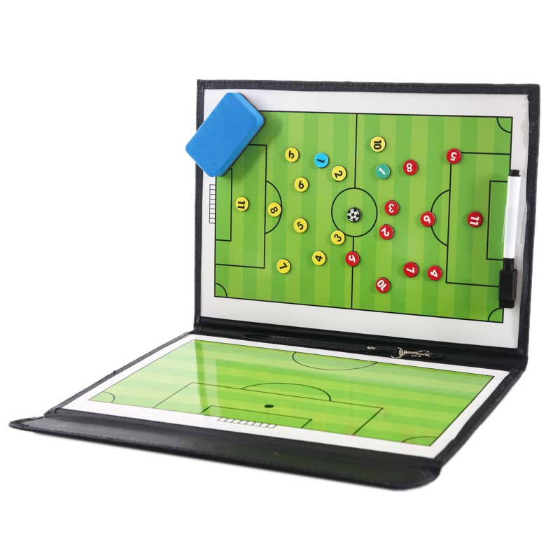Portable Trainning Assisitant Equipments Football Soccer Tactical Board 2.5 Fold Leather Useful Teaching Board #8