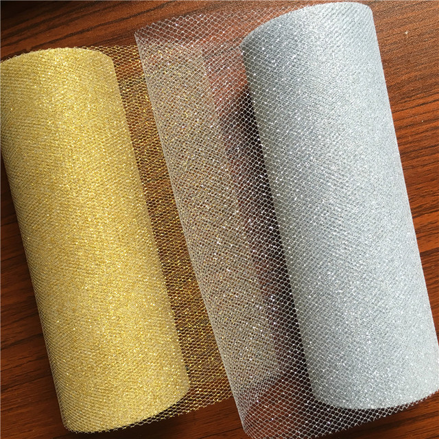 15cm 10Yards Glitter Tulle Roll Sparkly Glitter Sequin Organza Mesh DIY Party Crafts Tutu Skirt Wedding Birthday Party Supplies