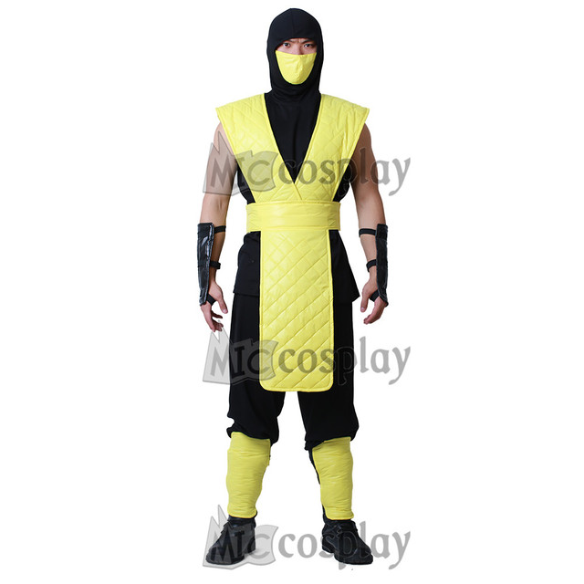 miccostumes Mortal Kombat Scorpion Cosplay Costume with Mask for Adult Men