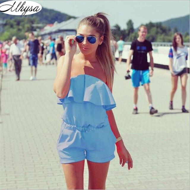 Dresses Womens Beach 2017 Summer Women Fashion Casual Ruffles Strapless Waist Tightening Candy Color Womens Dress 060