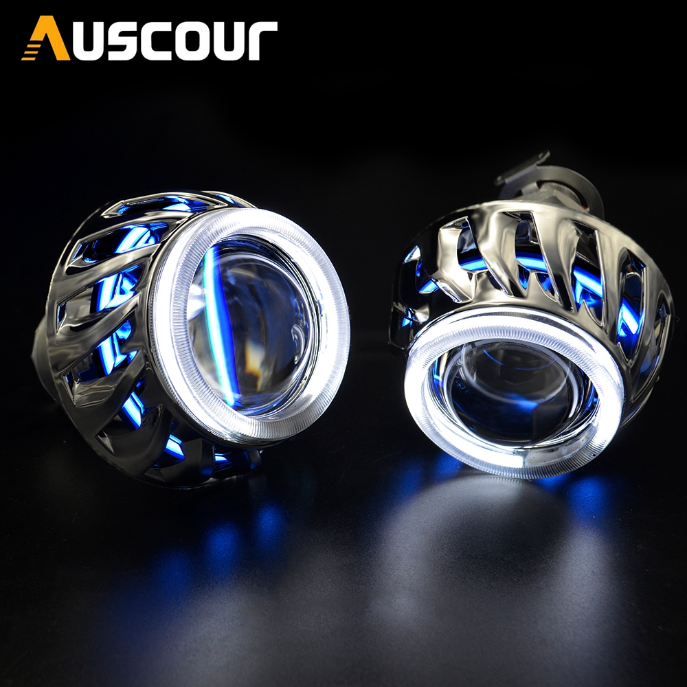 2 0inch mini h1 motorcycle bixenon projector lens dual led angel DRL white blue DRL funtion