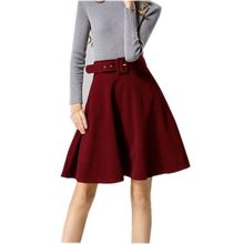 Фотография 2017 Women Skirt Fashion Autumn Winter Wool Skirt For Women High Waist Casual Warm Knee-Length Ladies Office Skirt