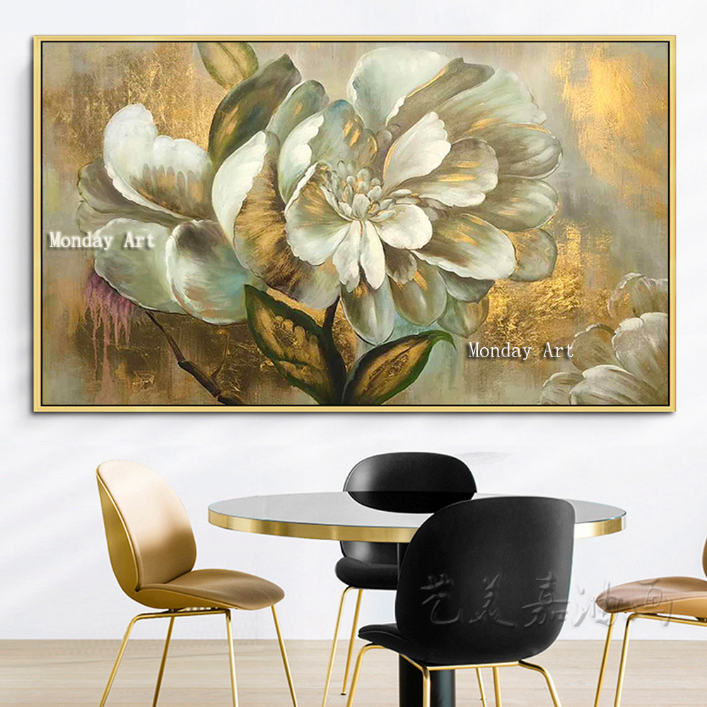 Best Handpainted Abstract Palette White Flower Oil Painting On Canvas Handmade Money Tree Wall Painting Cuadros