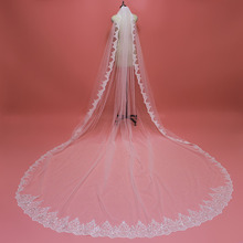 High Quality Sequined Lace 4 Meters Long Wedding Veil with Comb One Layer 4M White Ivory Bridal 2019 Velo Novia