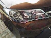 2015 For toyota RAV4 RAV 4 2013 2015 Exterior ABS Chrome Front Head Lights Lamp Headlight Cover Trim Lamp Shade Protection Frame