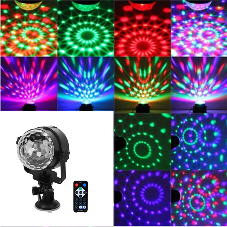 2PCS Voice Stage Lights effect 3W Rotating Mini Magic disco ball car DJ Home Party USB socket LED Crystal Magic Ball Lamp DC 5V