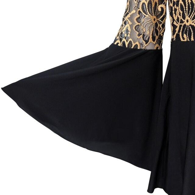 YTL Women Plus Size Tunic Retro Gold Lace Top V Neck Patchwork Flare Sleeve Blouse Spring Autumn Female Black Shirt 7XL 8XL H122 4