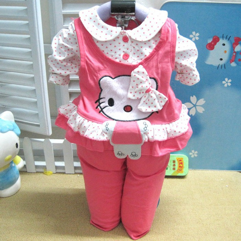 New 2016 Brand Baby Clothing Sets Spring/Autumn Newborn Baby Girls Clothes Cartoon Velvet Set Children Pants + Clothes