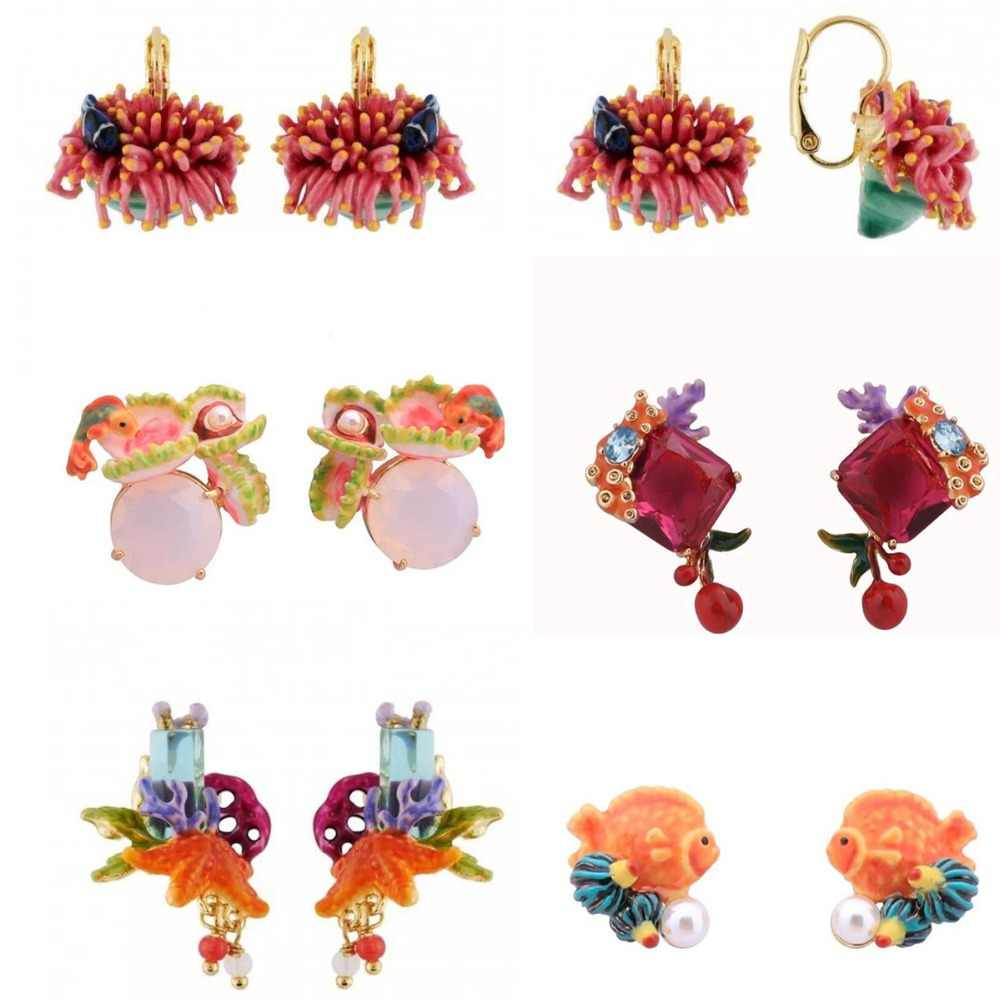 2018 Amybaby Designer Handmade Enamel Glaze Coral Flower Fish Womens Drop Hook Earrings Jewelry For Party