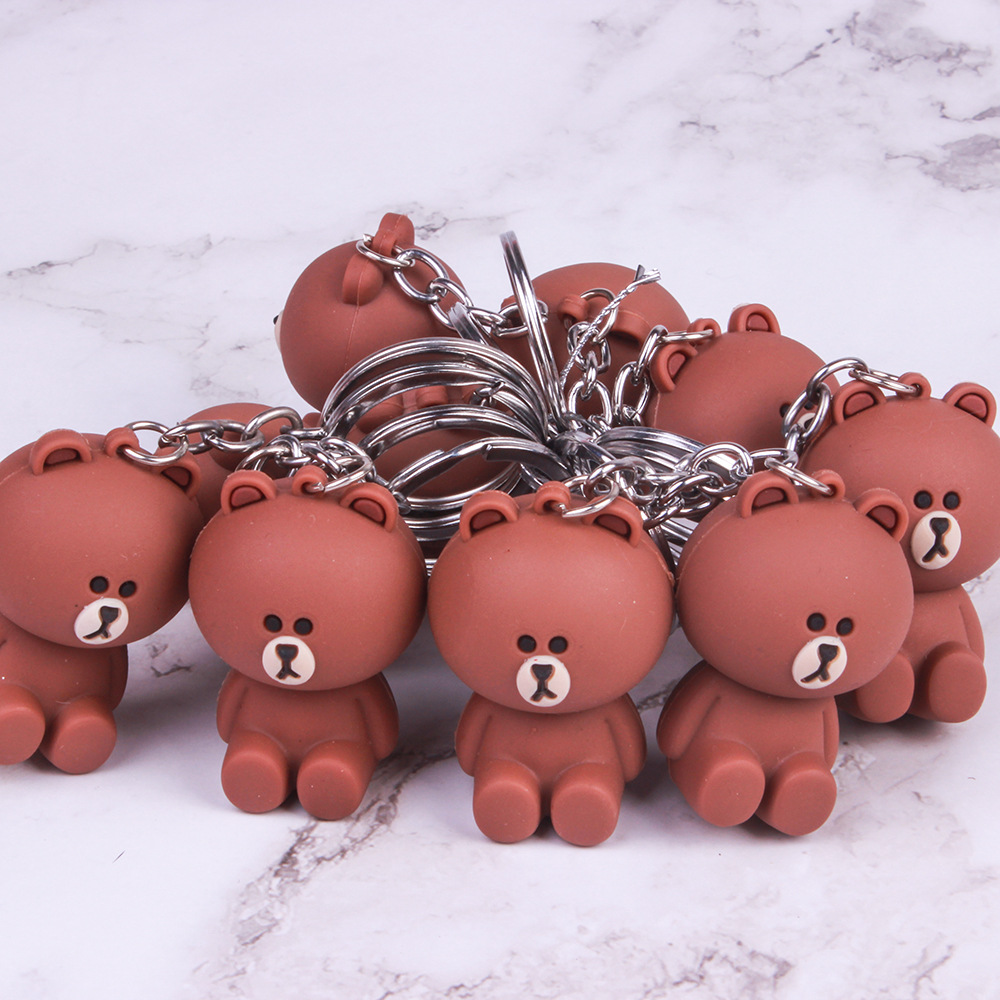 New Cartoon Lala Kuma Bear Brown Rabbit Key Chain Animal Silicone Keychains Woman Leather Jewelry Metal Keyring Car Bag Pendant