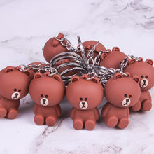New Cartoon lala Kuma Bear Brown Rabbit Key chain Animal Silicone Keychains Woman leather Jewelry Metal Keyring Car Bag Pendant(China)